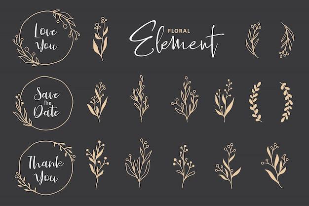 Hermosa colección de vectores de guirnalda floral dibujada a mano