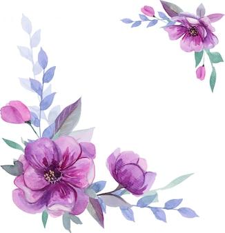 Hermosa composición acuarela con mano dibuja flores de color púrpura.