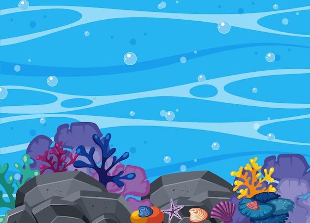 Hermosa coral y escena submarina