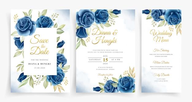 Hermosa corona floral acuarela en plantilla de tarjeta de invitación de boda set