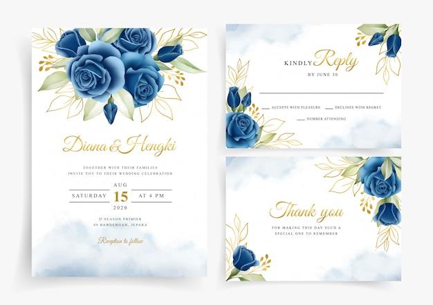 Hermosa corona floral acuarela en plantilla de tarjeta de invitación de boda
