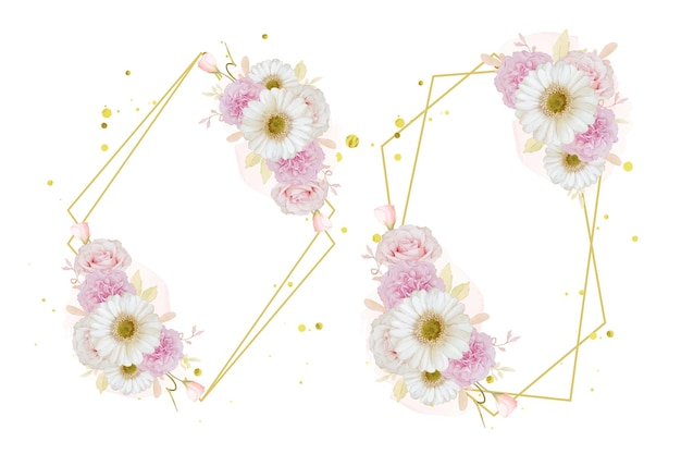 Hermosa corona floral con acuarela rosa rosa y flor de gerbera blanca