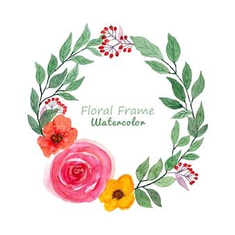 Hermosa corona floral acuarela