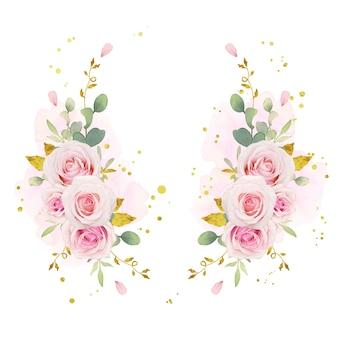 Hermosa corona floral con acuarelas rosas rosadas y adornos de oro