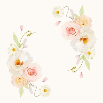 Hermosa corona floral con acuarelas rosas rosadas y peonía blanca