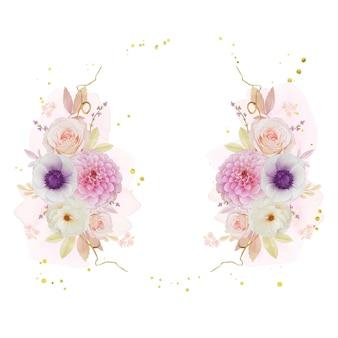 Hermosa corona floral con dalia rosa acuarela y flor de anémona