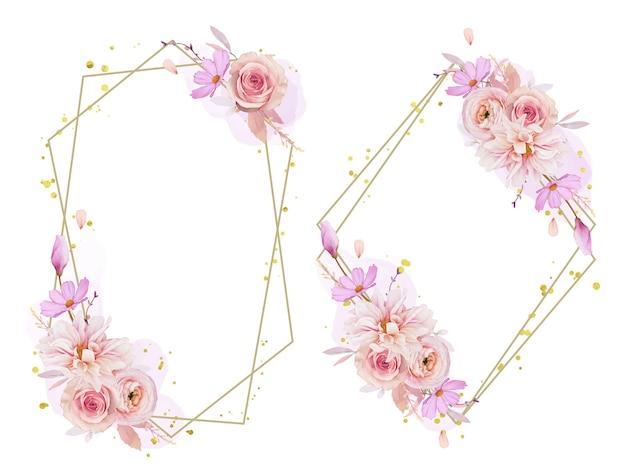 Hermosa corona floral con dalia rosa acuarela y flor de ranúnculo