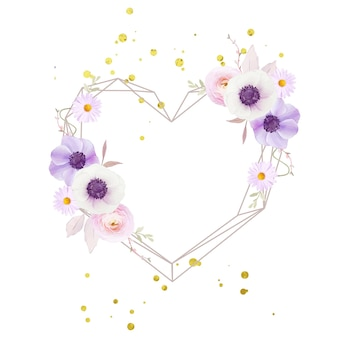 Hermosa corona floral con flor de anémonas de acuarela