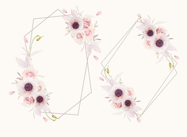 Hermosa corona floral con flores de anémonas y rosas rosadas acuarela