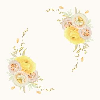 Hermosa corona floral con ranúnculos de rosas acuarelas y flores de anémona