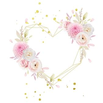 Hermosa corona floral con ranunculus de rosas rosadas y dalia de la acuarela
