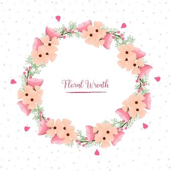 Hermosa corona floral rosa