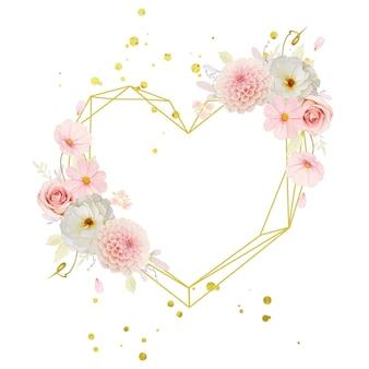 Hermosa corona floral con rosas acuarelas y dalia rosa