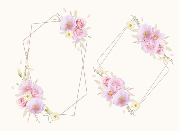 Hermosa corona floral con rosas acuarelas y flor de anémonas