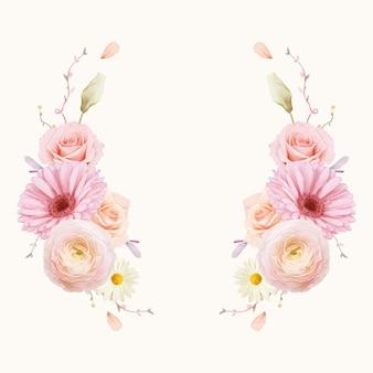 Hermosa corona floral con rosas acuarelas y gerbera