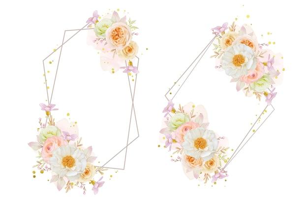 Hermosa corona floral con rosas acuarelas peonía y flor de ranúnculo