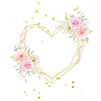 Hermosa corona floral con rosas acuarelas y ranúnculos