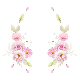 Hermosa corona floral con rosas acuarelas