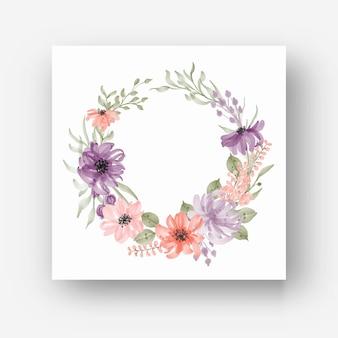 Hermosa corona de flores de acuarela