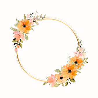 Hermosa corona de flores de naranja rosa con acuarela