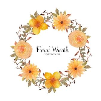 Hermosa corona de flores rústicas amarillas