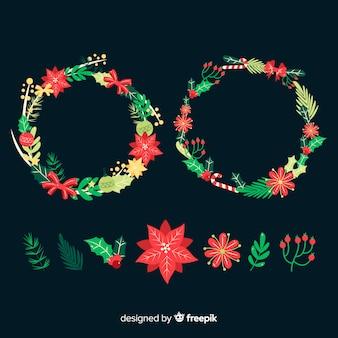 Hermosa corona de navidad sobre fondo negro