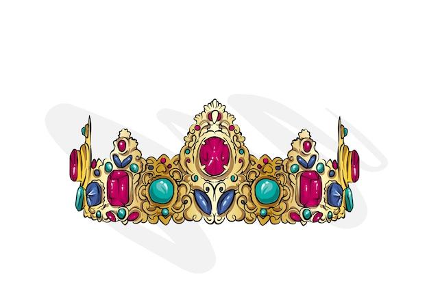 Hermosa corona con piedras preciosas