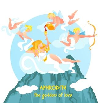 Hermosa diosa del amor afrodita reclinada en la parte superior