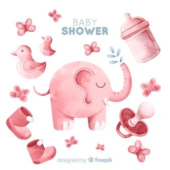 Hermosa diseño de acuarela de baby shower