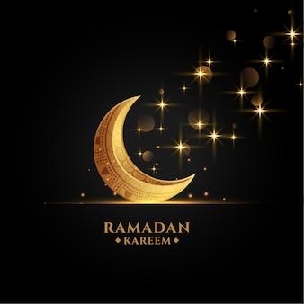 Hermosa eid luna dorada ramadan kareem