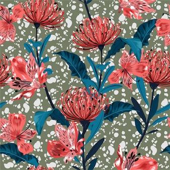 Hermosa y elegante flor de jardín flor de patrones sin fisuras