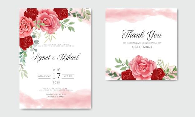 Hermosa y elegante invitación de boda de flores y hojas