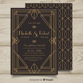 Hermosa elegante plantilla de invitación de boda en estilo art deco