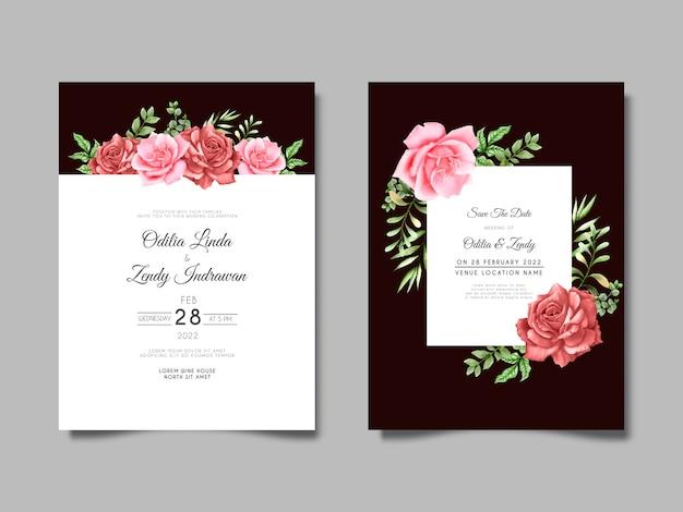 Hermosa y elegante plantilla de invitación de boda de flor rosa dibujada a mano