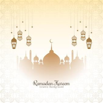 Hermosa y elegante tarjeta de felicitación del festival de ramadán kareem