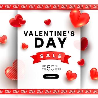 Hermosa y elegante venta de san valentín con decoración de formas de amor de aire 3d y cinta