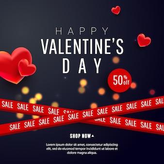 Hermosa y elegante venta de san valentín con decoración de formas de amor de aire 3d y cintas