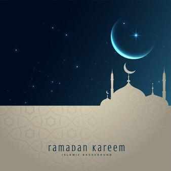 Hermosa escena nocturna con mezquita y luna, saludo ramadan kareem