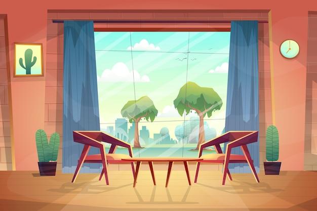Hermosa escena desde la sala de estar de la casa, miré a través de la ventana de vidrio y vi el parque natural afuera