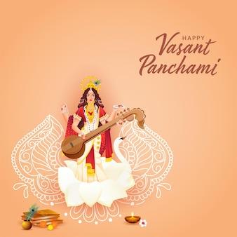 Hermosa escultura de la diosa saraswati con ofrenda religiosa y arte lineal floral para happy vasant panchami.