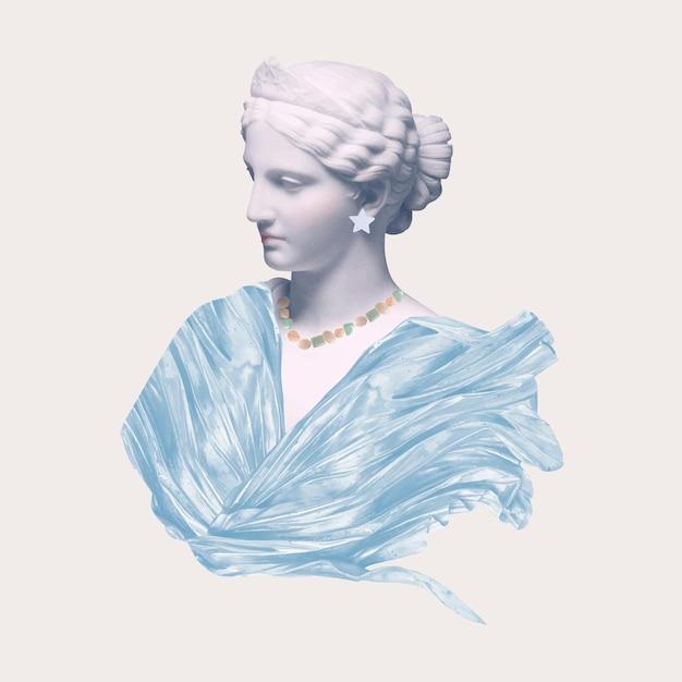 Hermosa estatua de diosa griega estética técnica mixta