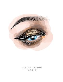 Hermosa extensión de pestañas de maquillaje de ojos y corrección de cejas