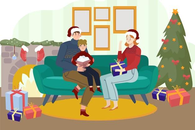 Hermosa familia con árbol de navidad y chimenea