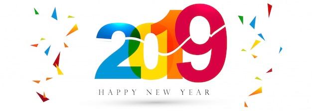 Hermosa feliz año nuevo 2019 banner festival de texto