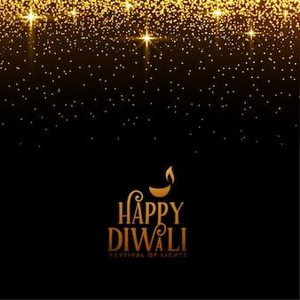 Hermosa feliz diwali brilla y brillo dorado