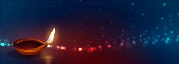 Hermosa feliz diwali diya luces banner