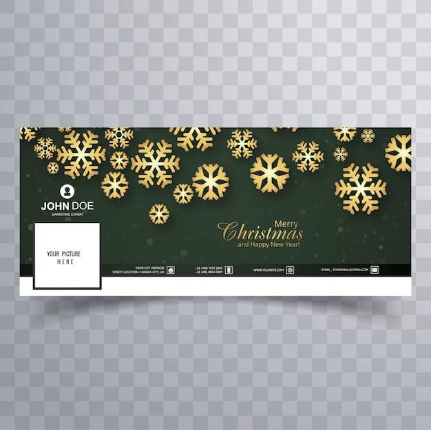 Hermosa feliz navidad copo de nieve con la plantilla de banner de facebook