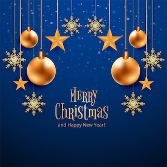 Hermosa feliz tarjeta de navidad celebración fondo azul