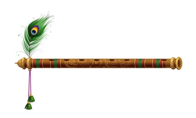 Hermosa flauta con pluma de pavo real