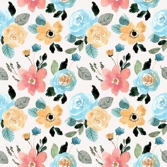 Hermosa flor acuarela de patrones sin fisuras